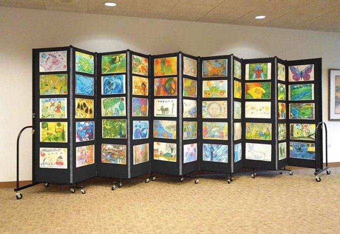 A black art display system used to display student artwork