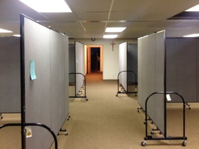 Room dividers create Sunday school classrooms in a church basement