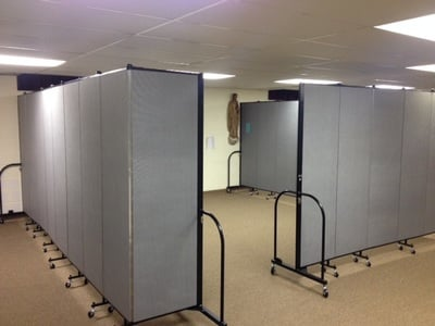 Sound absorbing room dividers create much needed ministry rooms