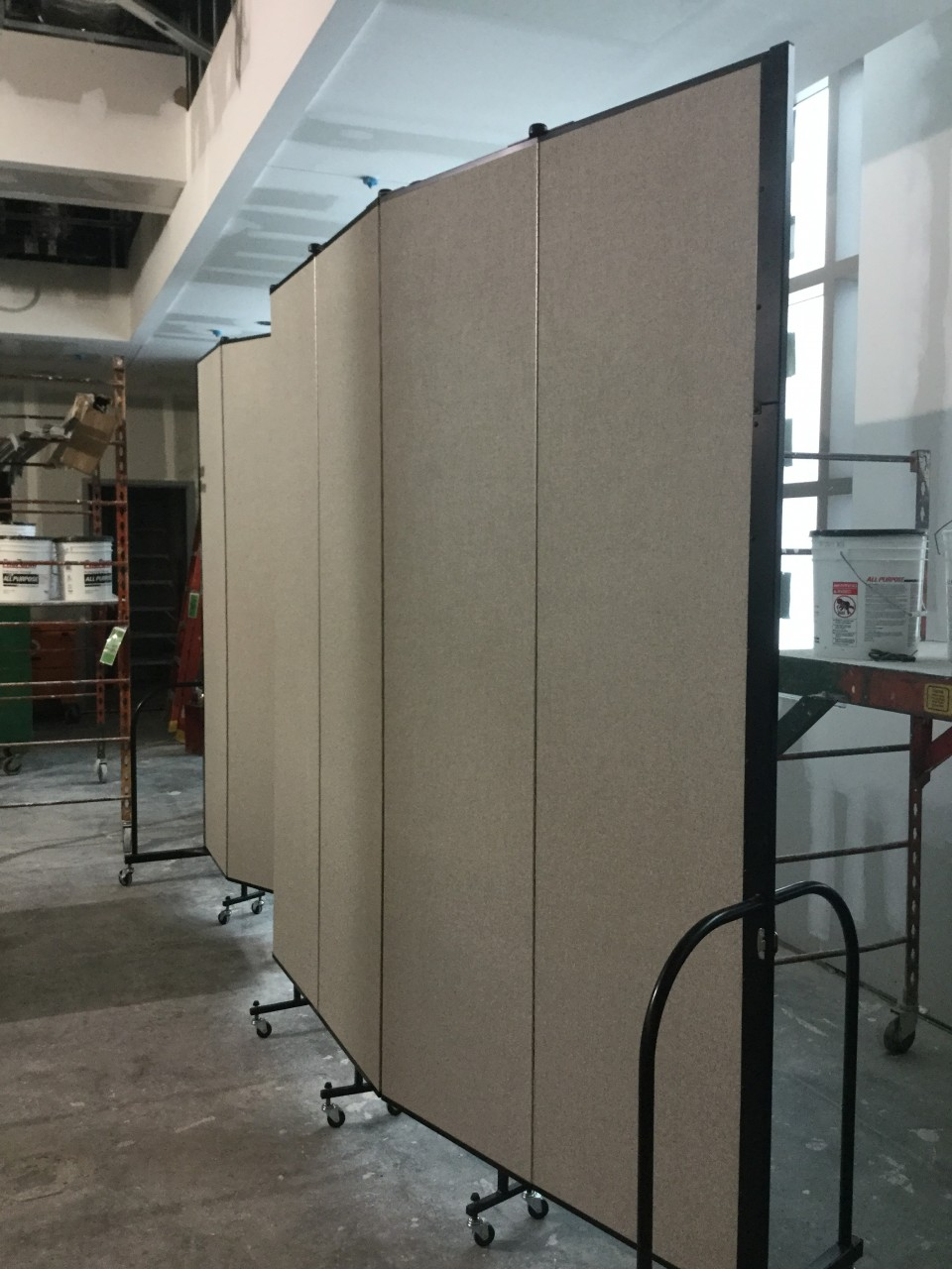 Room divider in construction area