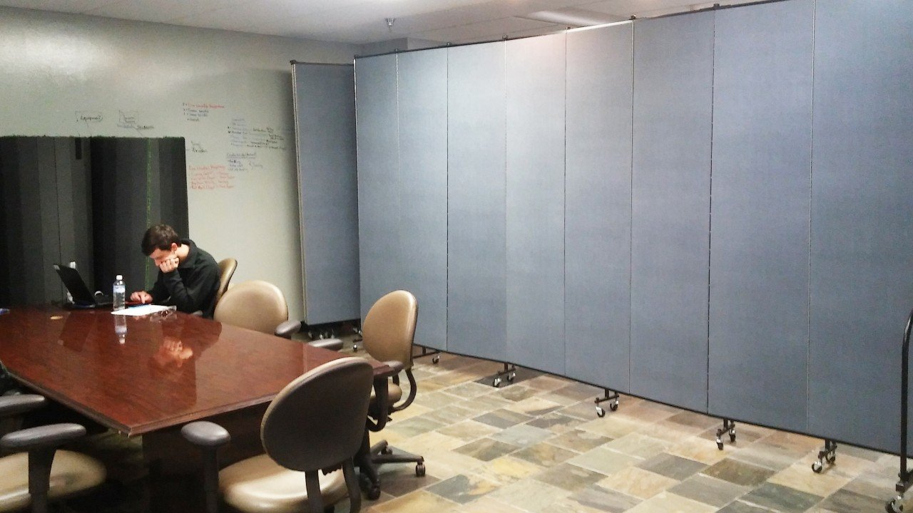 Dollamur Uses Room Dividers to hide lunchroom