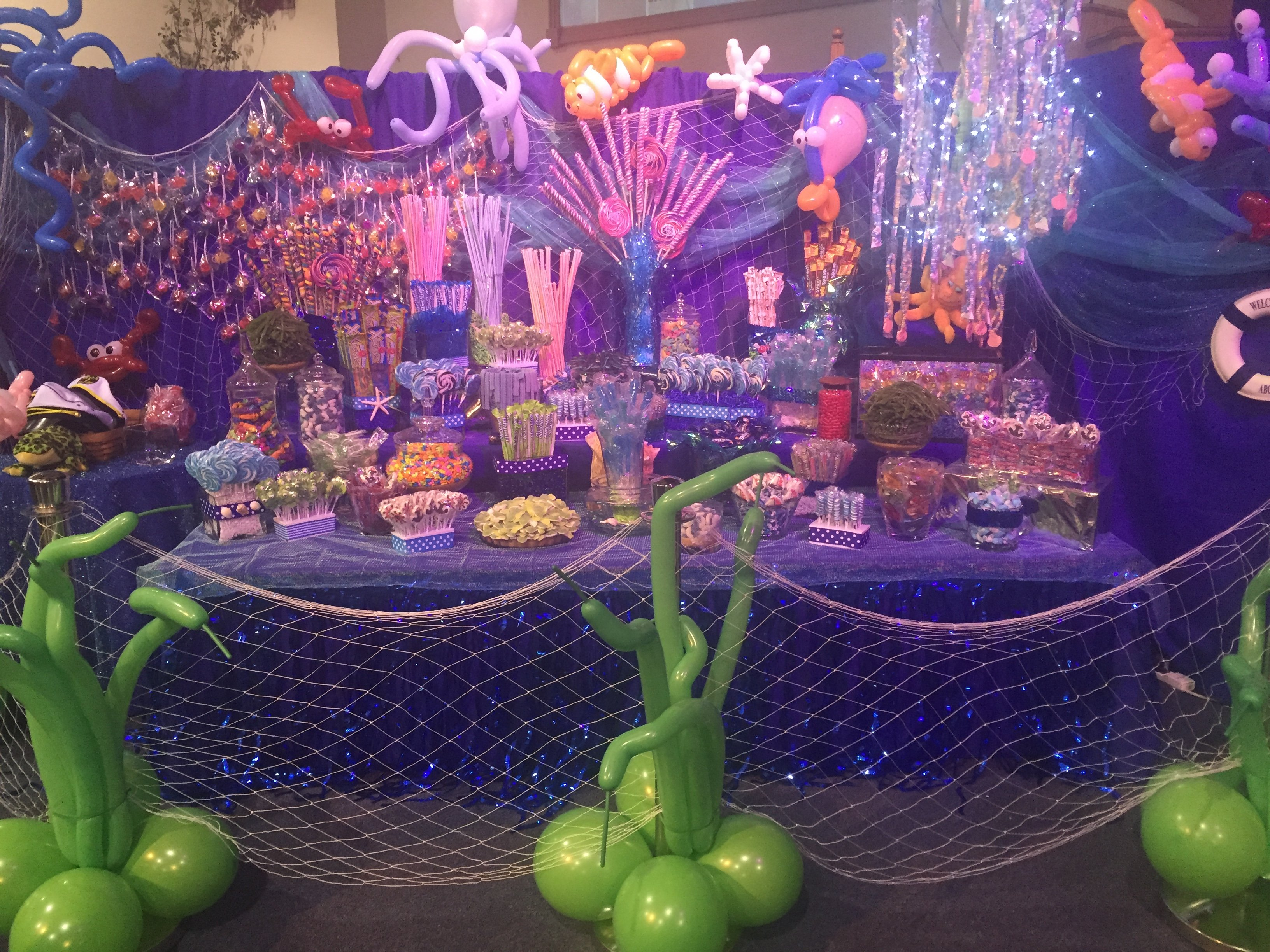 Under the sea candy table at a party