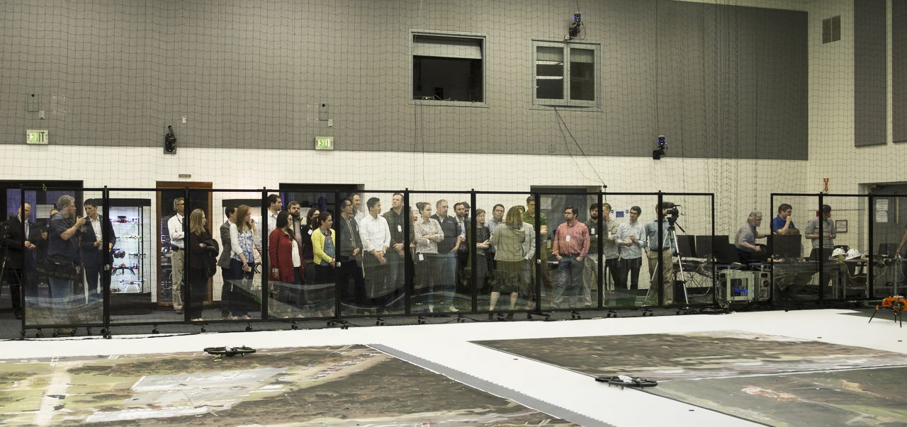 NASA drone testing facility shields spectators with a wall of clear room dividers