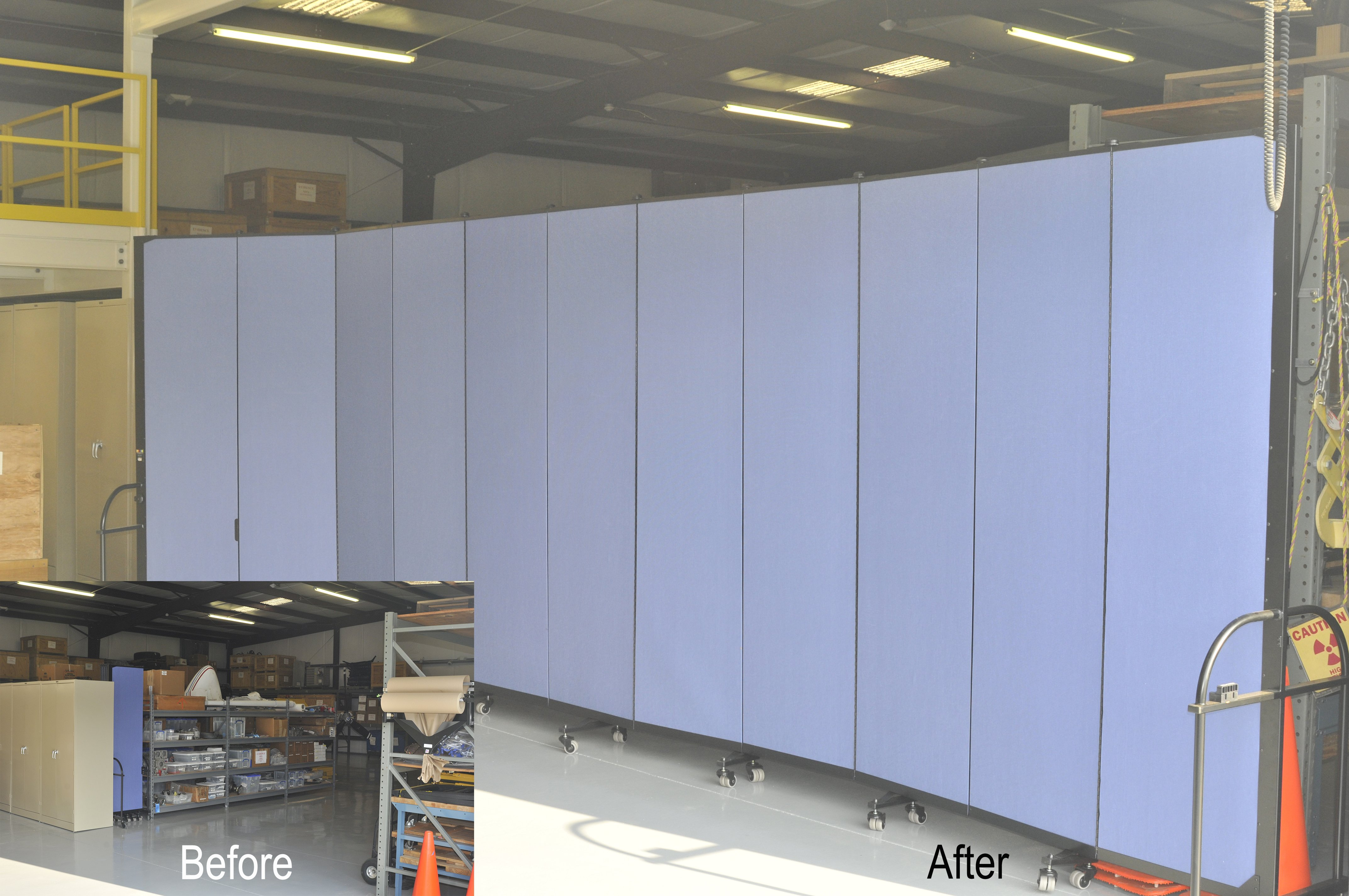 Before and after image of rolling dividers separating a warehouse in two
