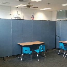 Room dividers create a smaller room within a larger classroom