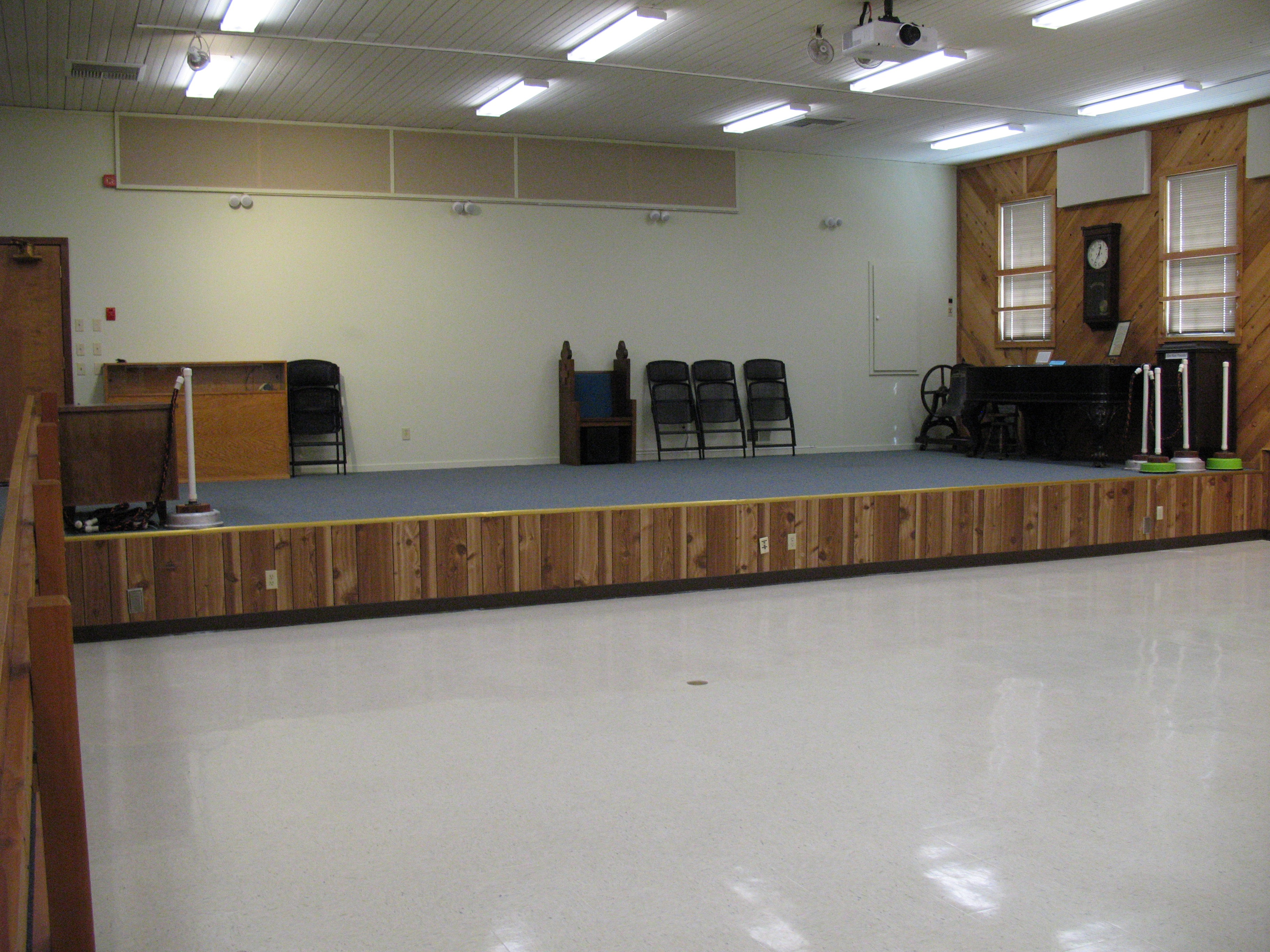 A stage in a community center