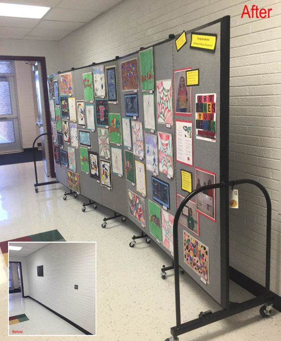 Art display boards in a hallway
