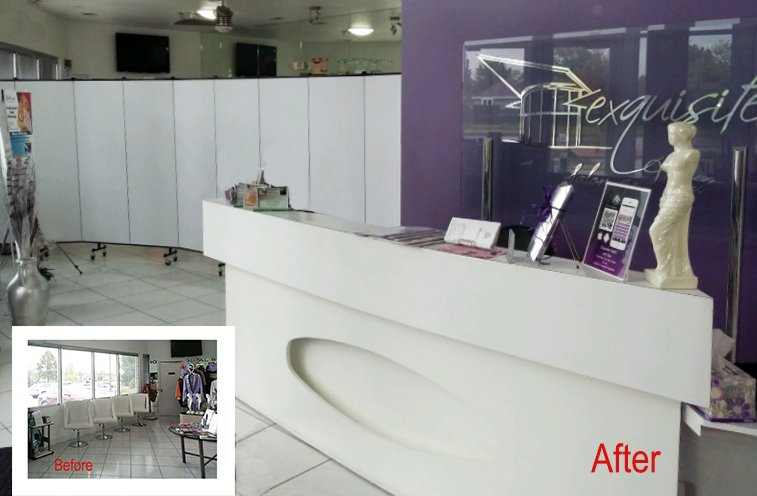 Room divider screens in a beauty salon