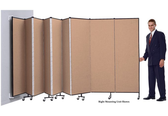 A Man Opens a Right Mounting Wallmount Screenflex Room Divider