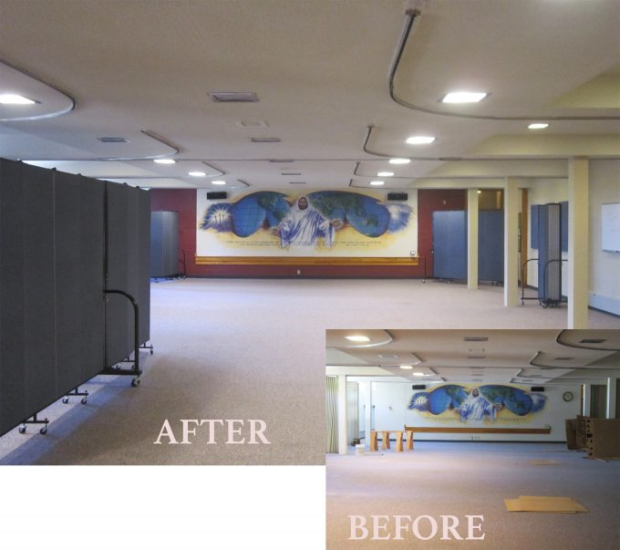 Before and After Fellowship Hall Makeover Idea