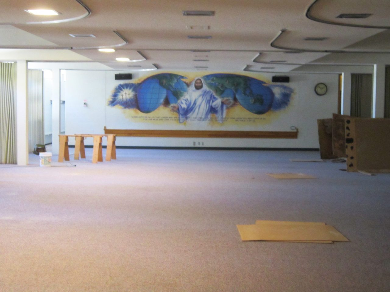 An open fellowship hall prepares for a transformation