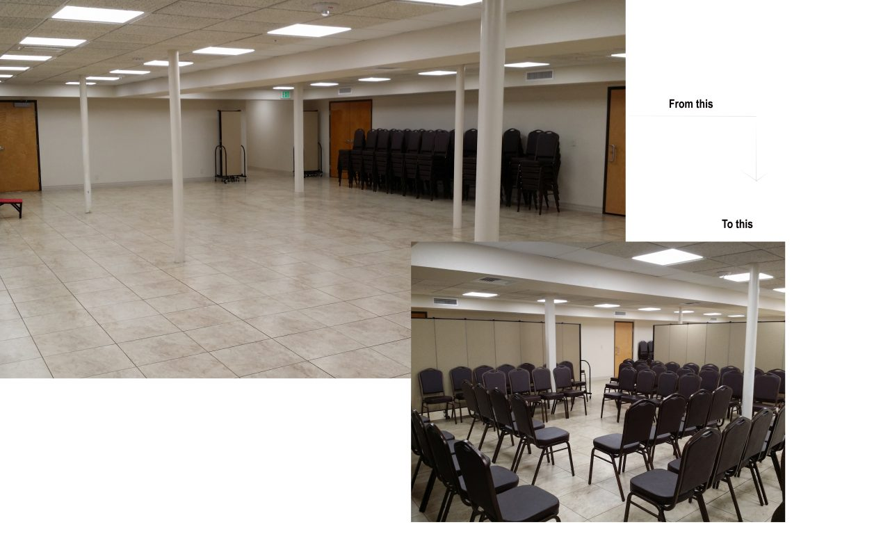 Church dividers convert a church basement into multiple classrooms