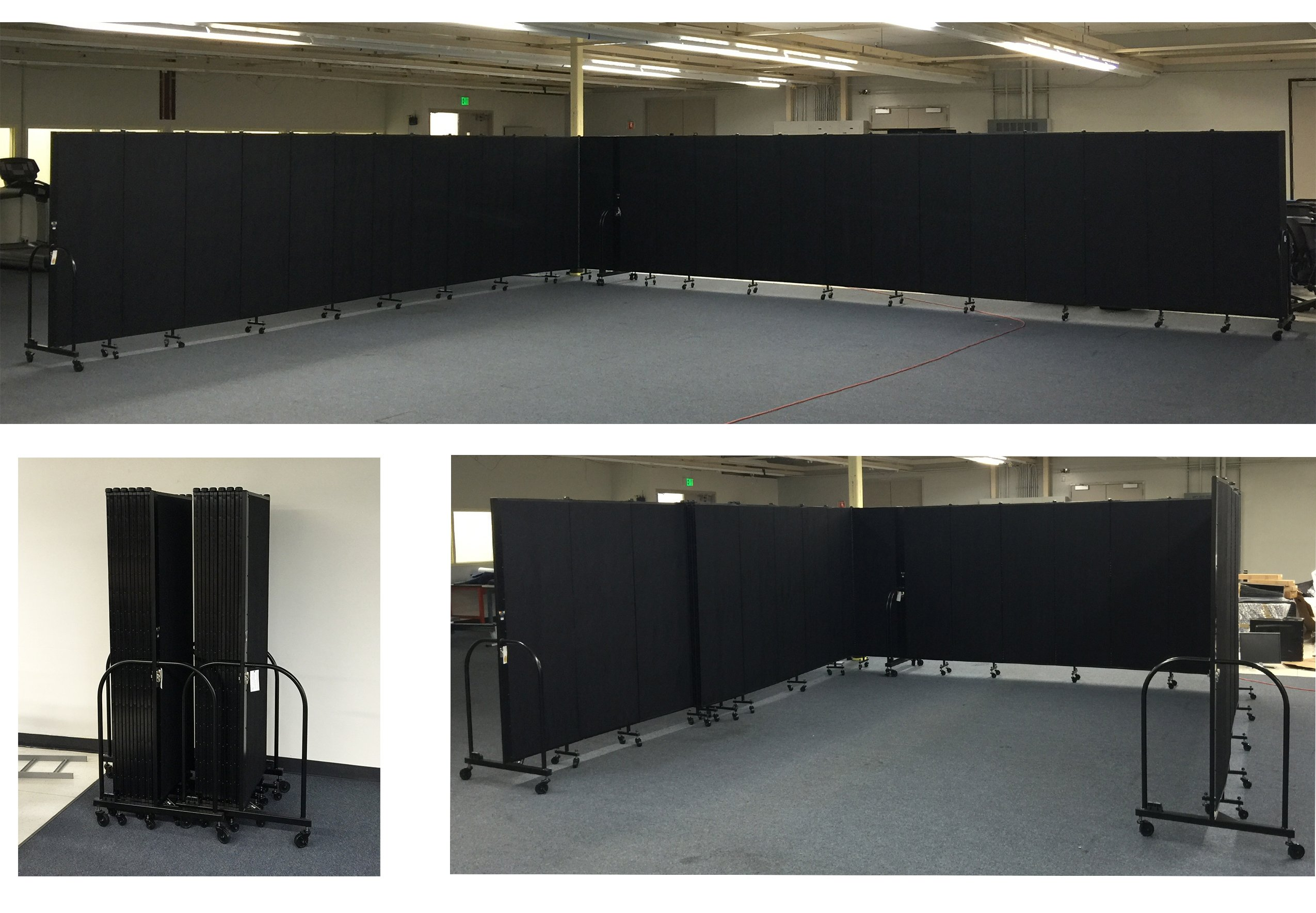 Rolling partition walls separate a large room into smaller classrooms