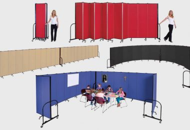 A collection of colorful room dividers in various configurations