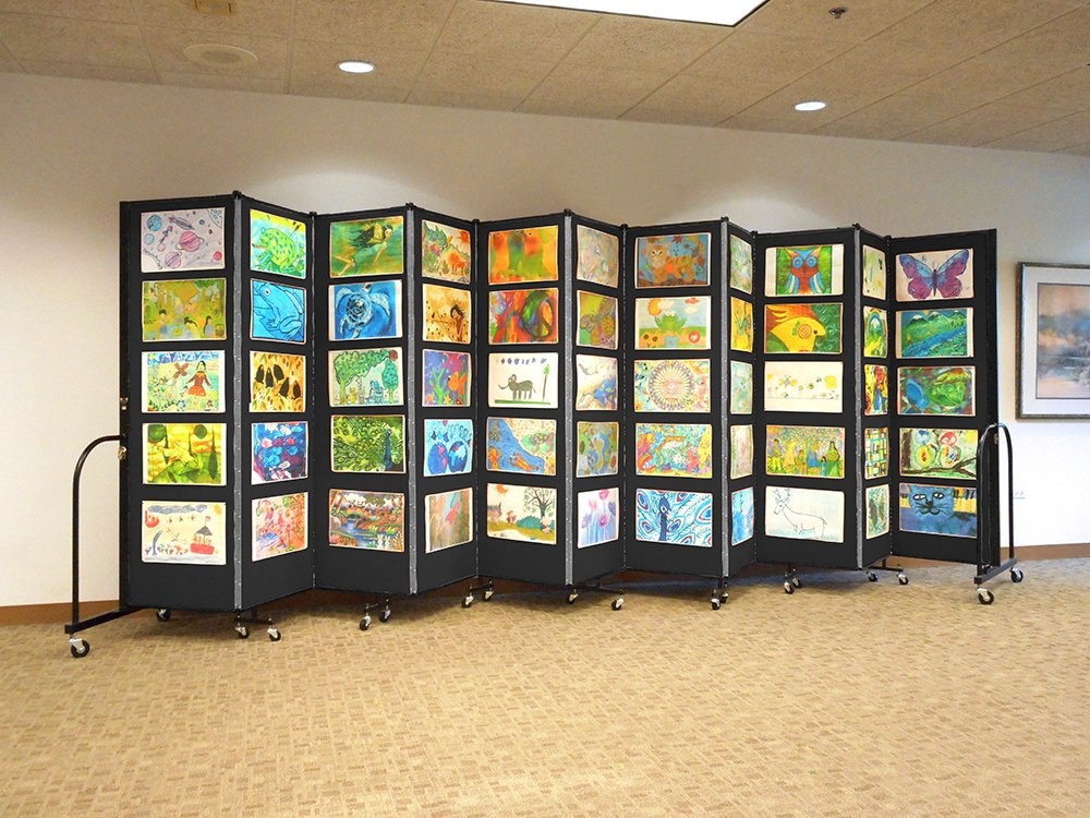 Portable Art Exhibition Stands : Affordable education art display system screenflex room