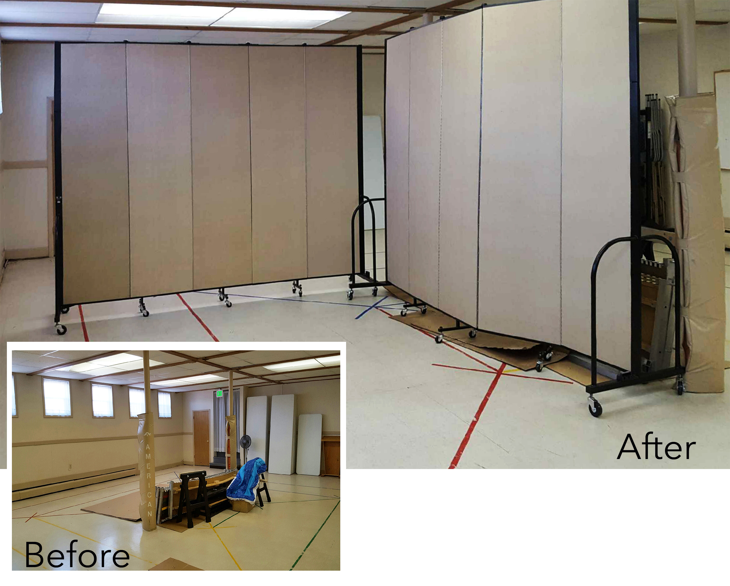 Movable church partitions create much needed space