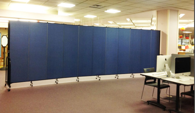 Library temporary walls create a collaborative learning space