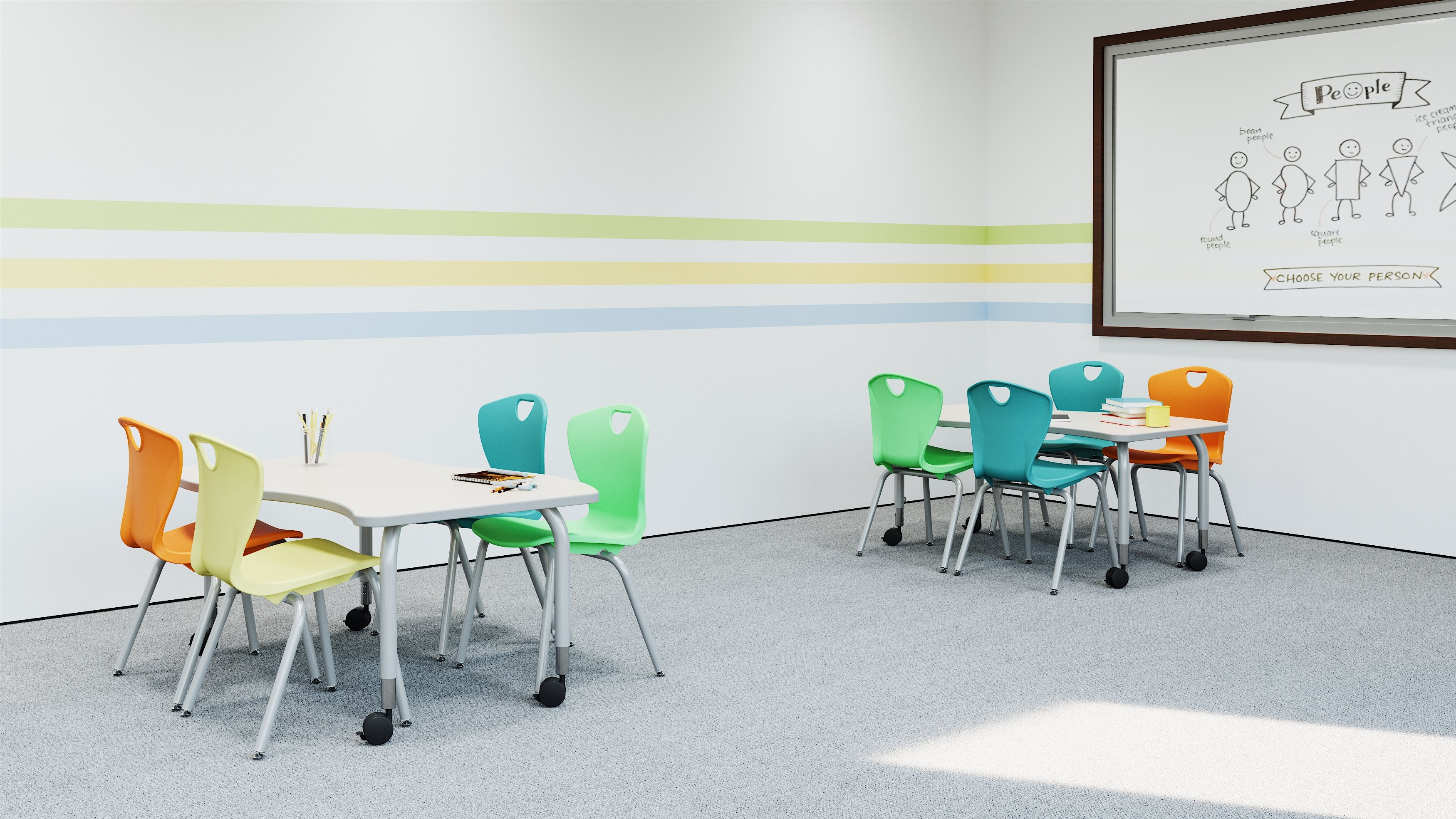 Childrens ministry, Elementary Classroom With Two Tables and Chairs