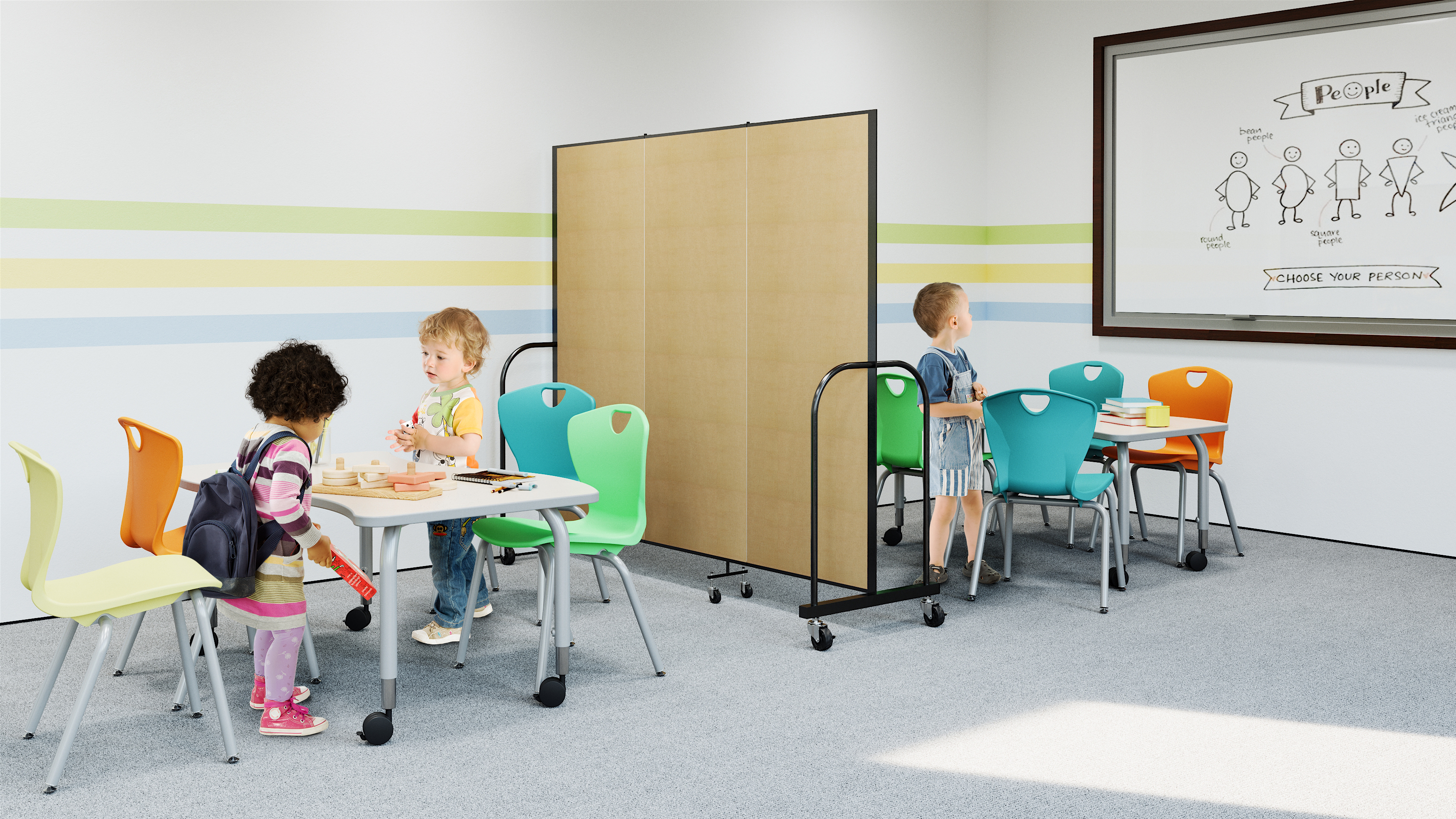 Childrens Ministry, Early Childhood Education Classroom of Students and Table and Chairs