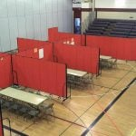 Gym classroom management achieved with portable partitions