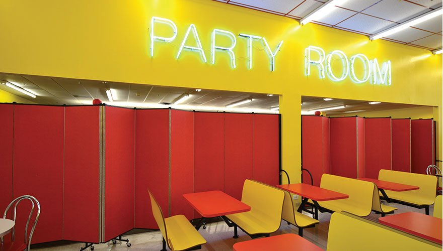 Party Room Divider Separates Eating and Play Areas
