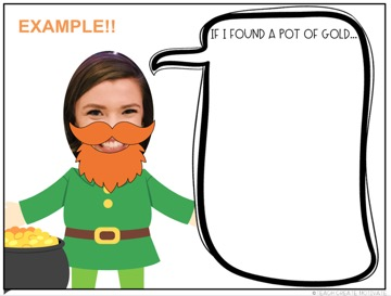 A female face disguised as a leprechaun cartoon writing pompt