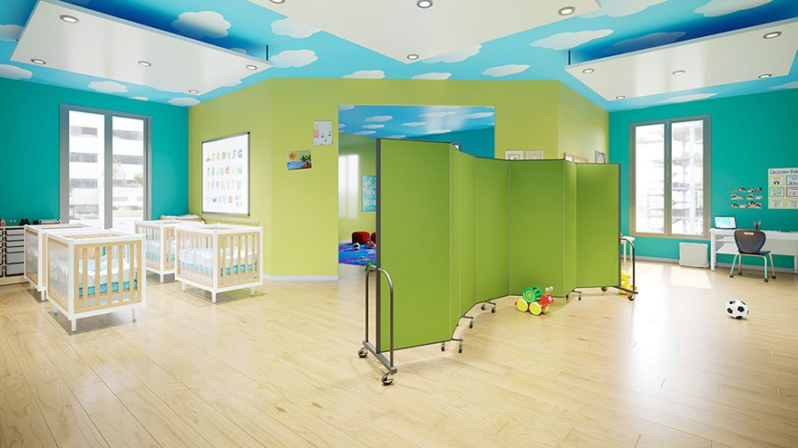 Daycare center space saver with room divider