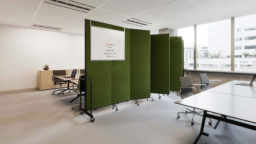 Green room divider creates two meeting areas in a conference room