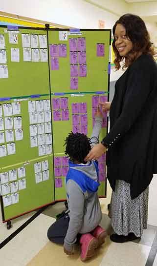 Tackable display towers display student work
