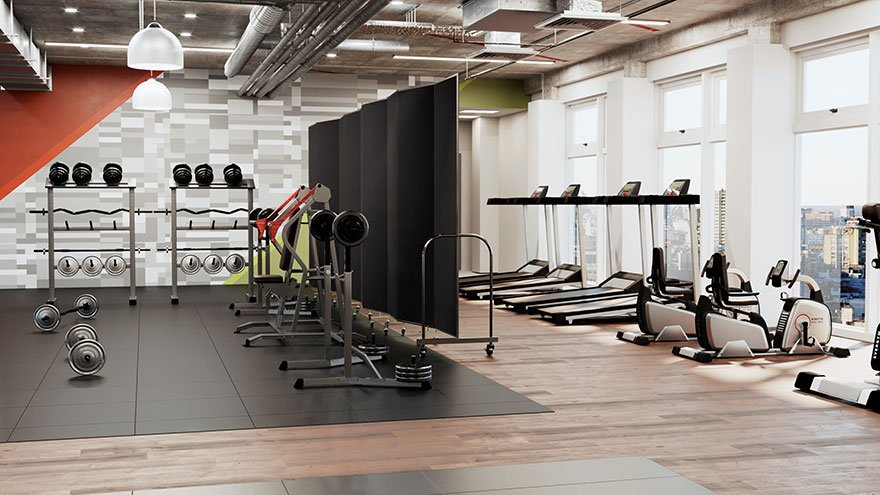A foldable room divider separates a weight training space from elliptical machines