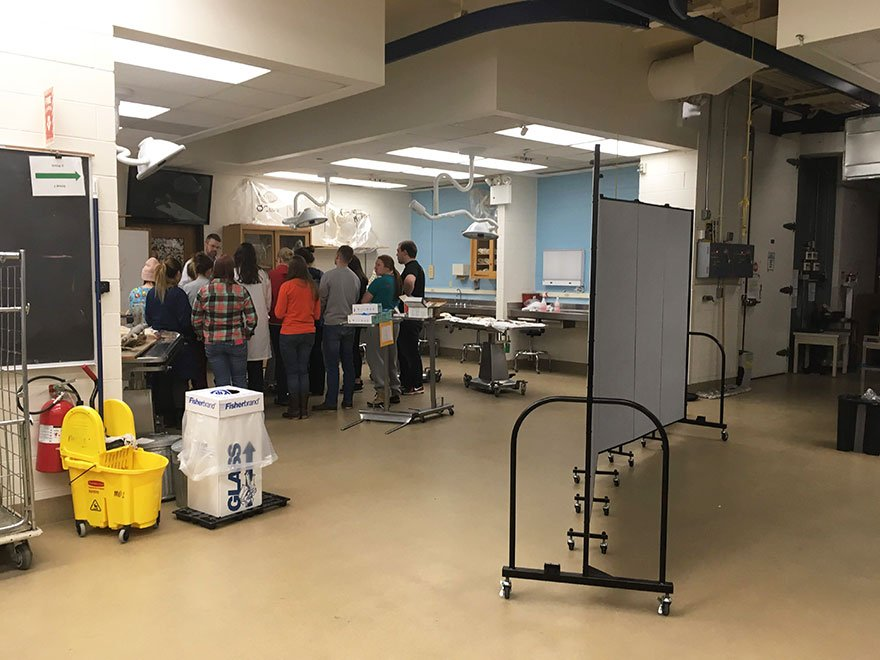 A portable wall divides a classroom lab into smaller stations