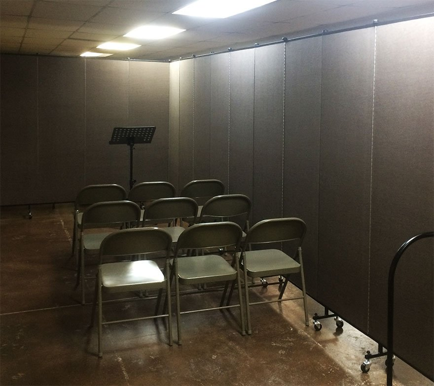 Temporary music classroom created by movable walls