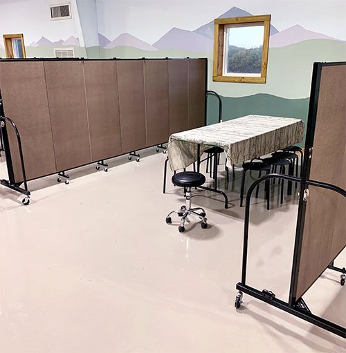Church room dividers split a Sunday school classroom into smaller classrooms