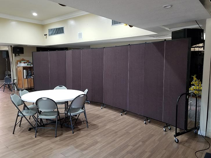 Church room divider creates study area