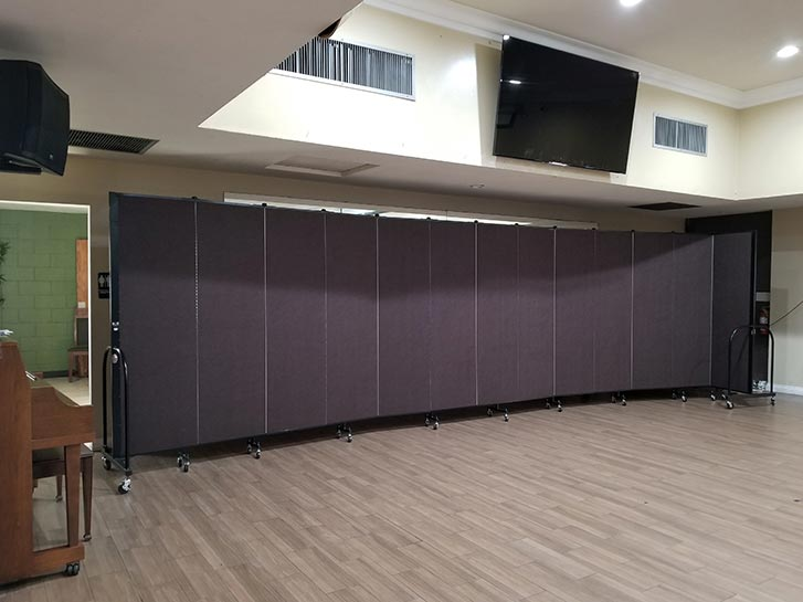 Sound absorbing movable wall in a church fellowship hall