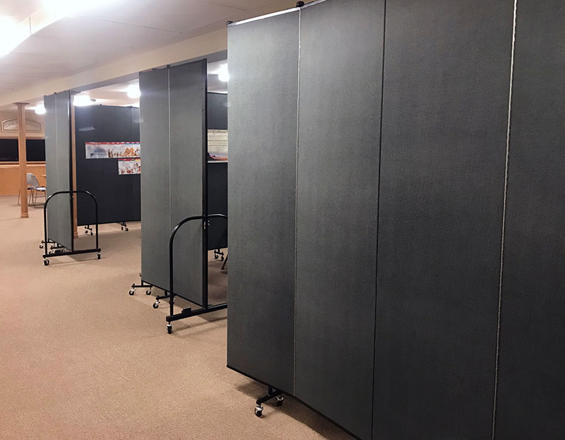 Church partitions create multiple Sunday school classrooms