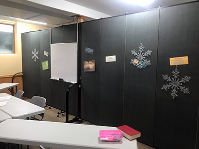 Tackable church portable walls divide space and display items