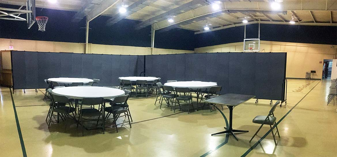 Sunday school set up in a gymnasium