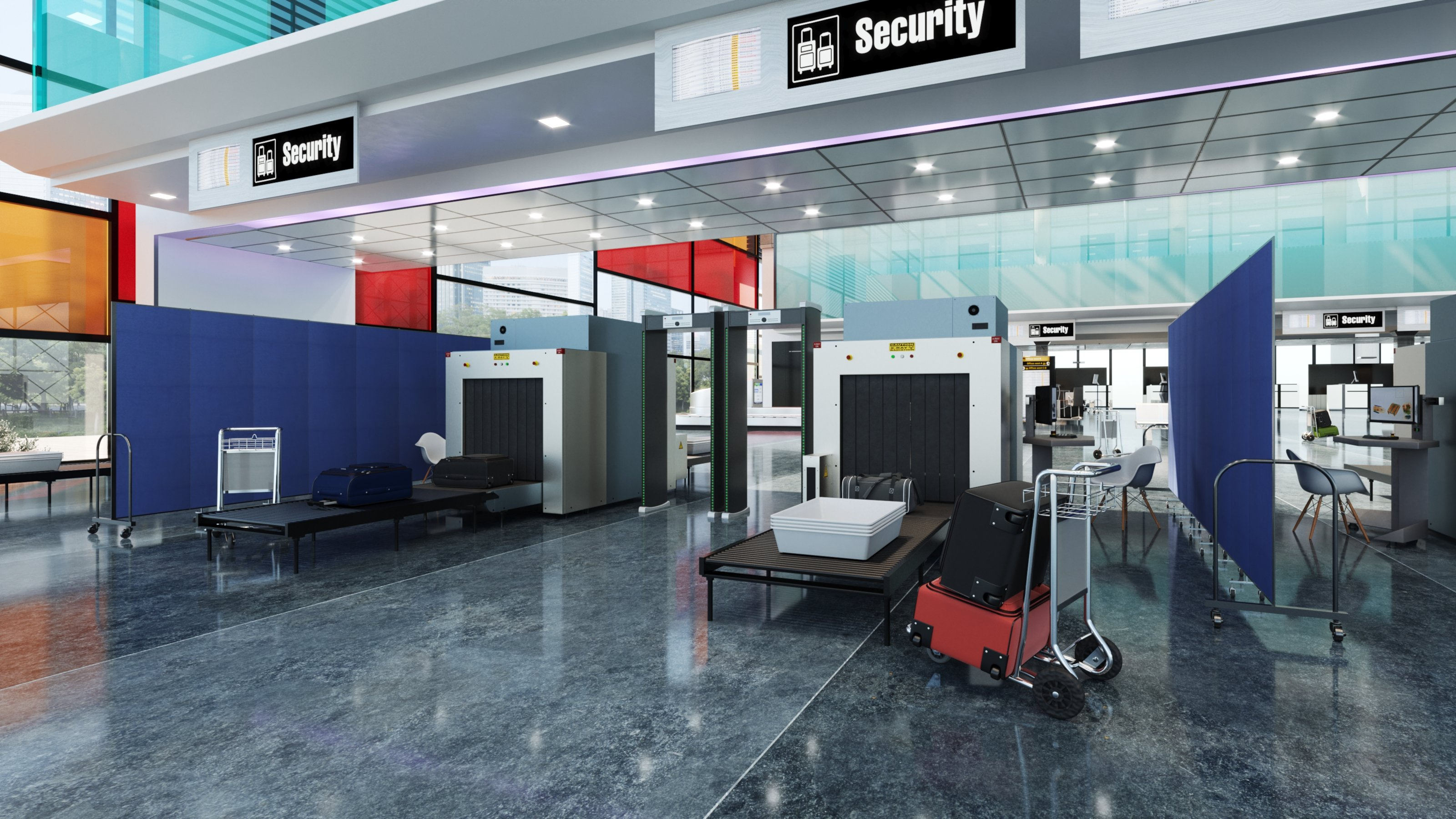 Airport security check screens