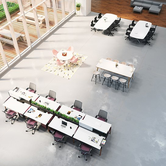 Open space meeting area with tables and chairs