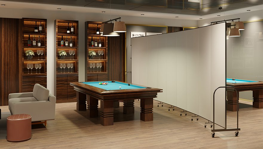 Pool hall divided with room divider to create a private space