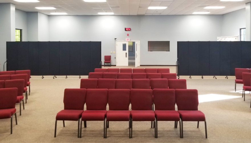 Temporary walls setup in a church worship hall