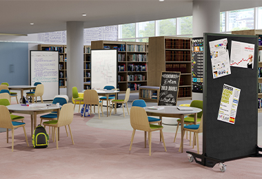 Dry erase magnetic and fabric room dividers in a library