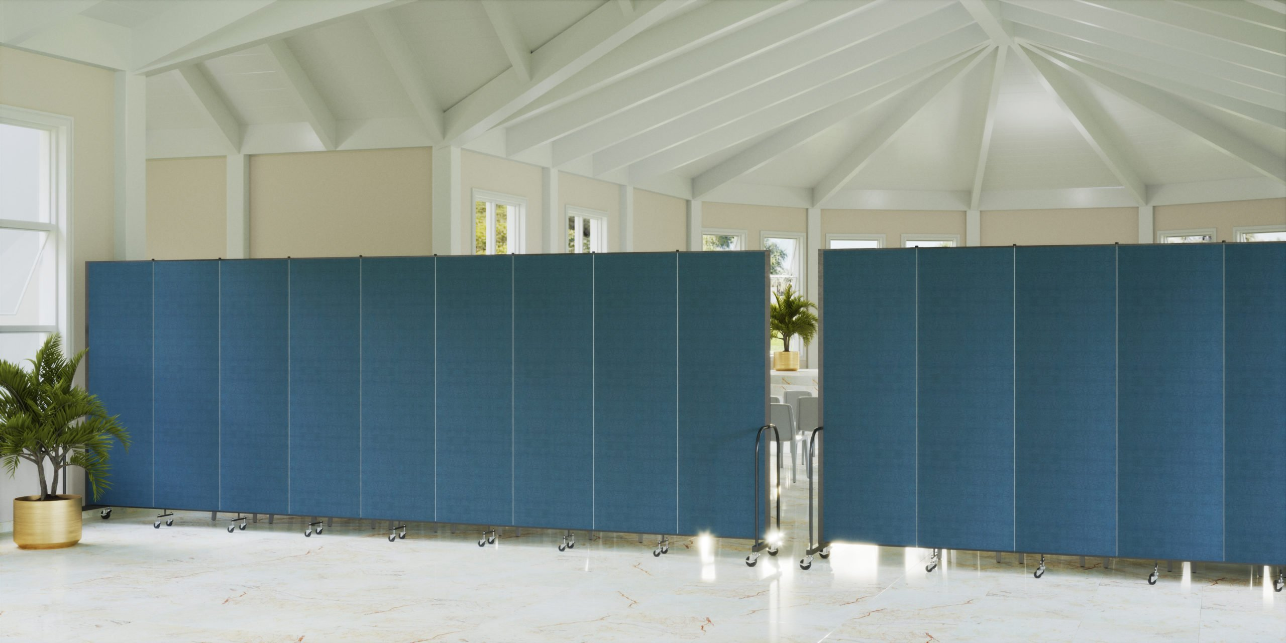 Two straight blue room dividers closing off a space for a church
