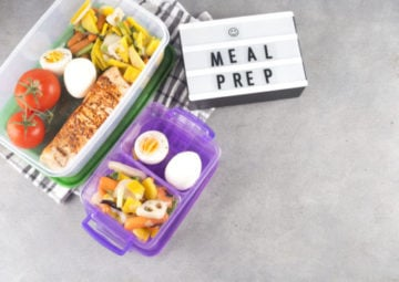 increase revenue- two containers filled with eggs, salmon, and vegetables for meal prep