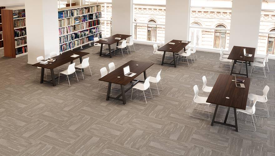 open floorplan in the library
