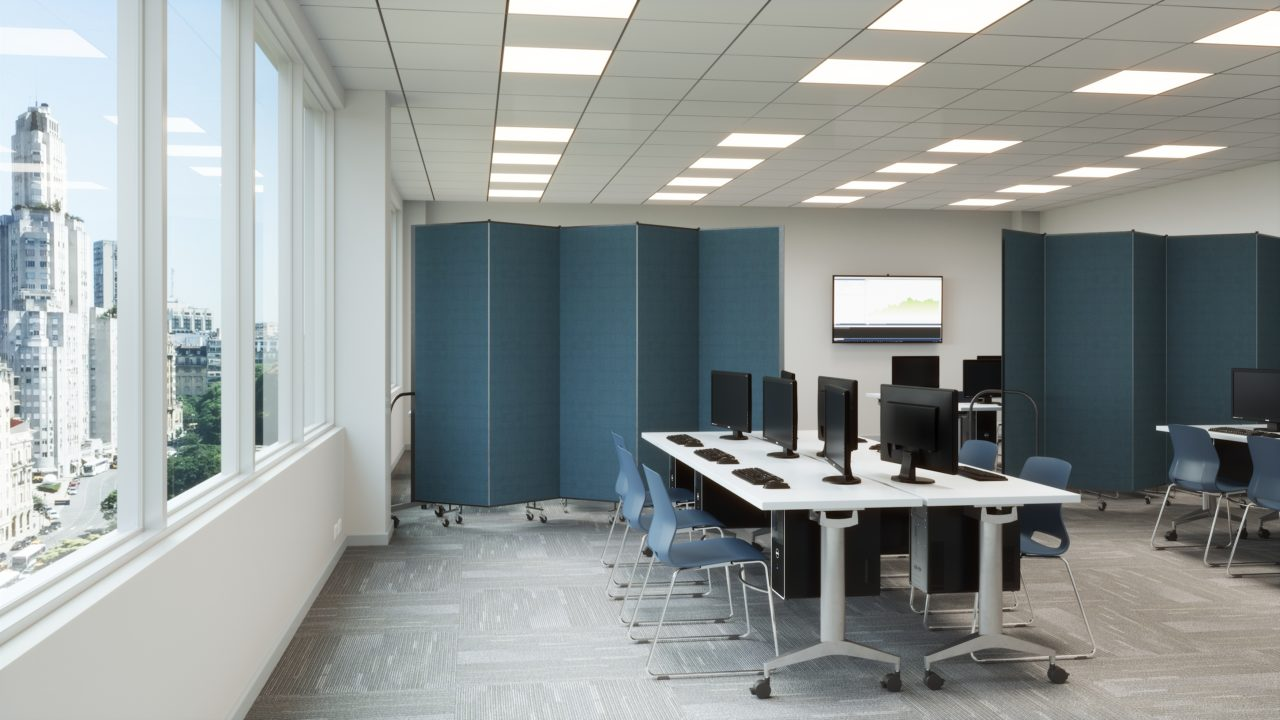 Tech School Computer Lab with Blue Room Dividers
