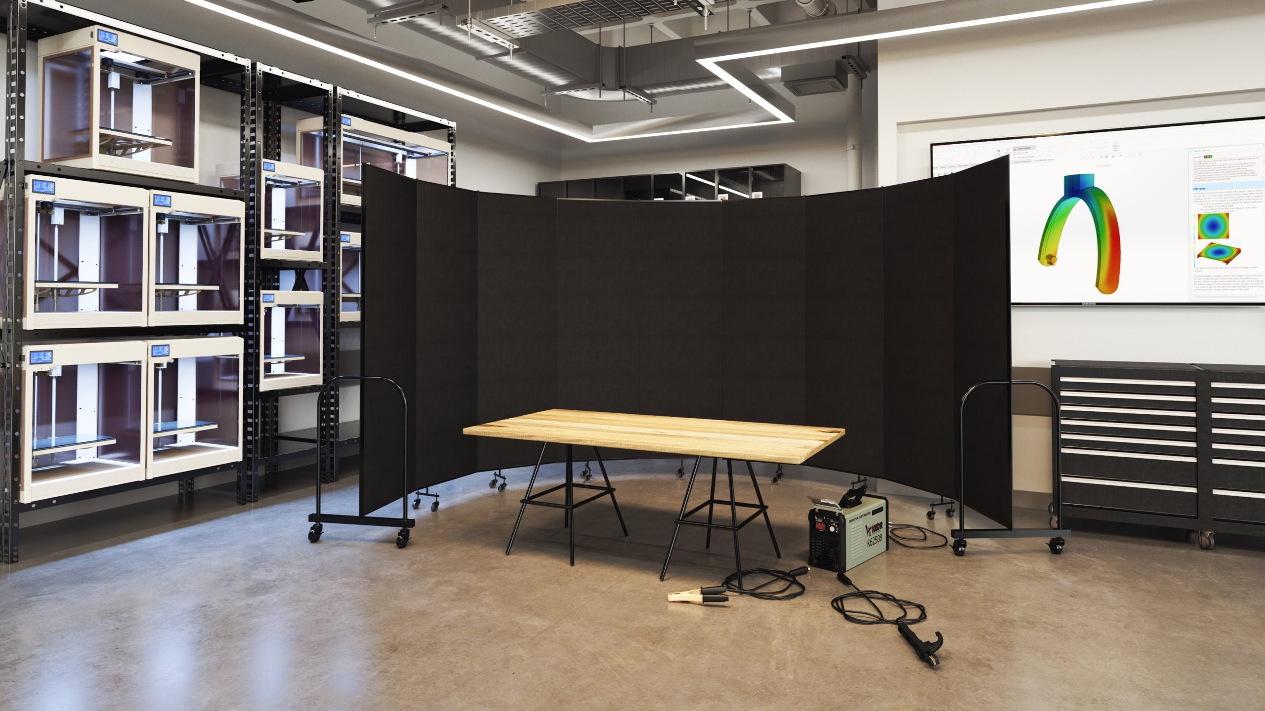 Welding Facility Enclosed with a black room divider
