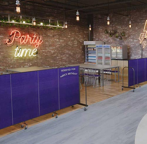 Party area in family fun center screenflex portable room - Cool things to have in your room ...