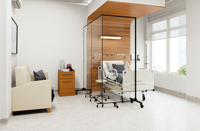 Clear Room Divider Surrounds Hospital Bed